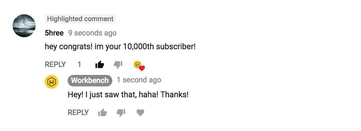 10K Subscribers! | workbench